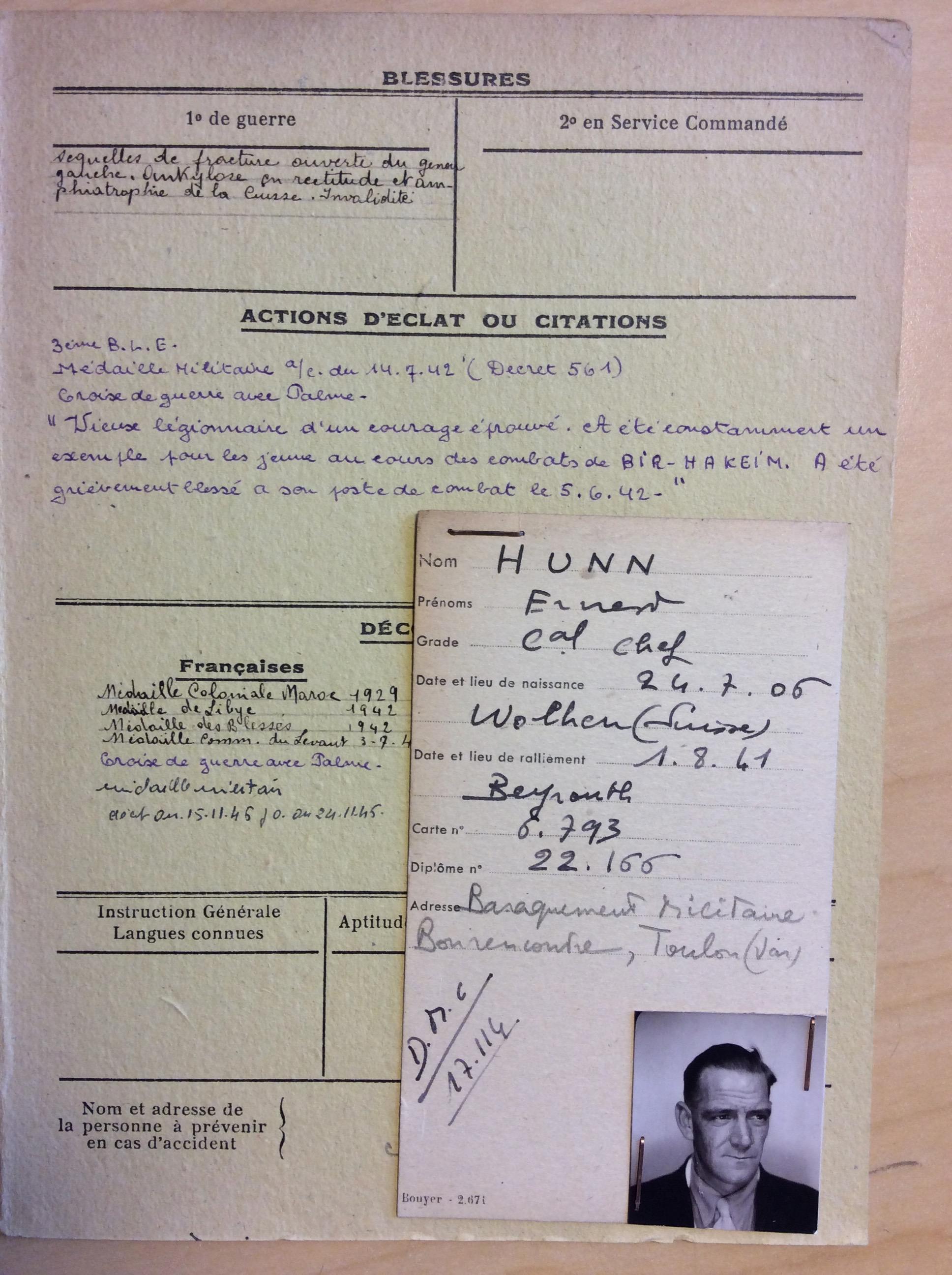 Der ehemalige Fremdenlegionär Ernst Hunn, der im Sommer 1941 in Syrien zur Résistance überläuft. Bildnachweis: Service historique de la Défense (SHD), Paris-Vincennes (16P 299347)