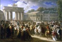 Das Bild zeigt Charles Meyniers Vision des Einzugs Napoleons in Berlin 1806 (1810)