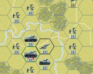 """Kartenausschnitt aus dem Spiel """"Panzer General"""" (SSI, 1994)"""