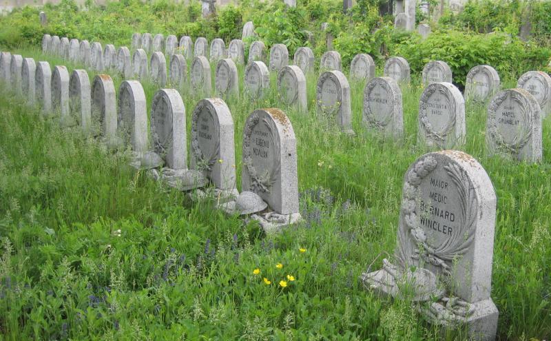"""Ehrenfeld für die im Ersten Weltkrieg gefallenen jüdischen Soldaten auf dem jüdischen Friedhof """"Filantropia"""" in Bukarest, 2014, Foto: Elisabeth Weber"""