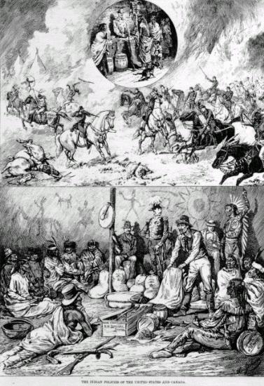 Kanadischer Stich (Henri Julien, 1876) zu den Unterschieden der amerikanisch-kanadischen