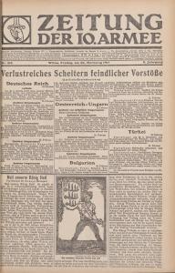 """Abbildung 4: Zeitung der 10. Armee, Nr. 216 vom 23.2.1917. Zum Geburtstag des württembergischen Königs wird der vermeintlich furchtlose deutsche Frontkämpfer als """"wackerer Schwabe"""" präsentiert."""