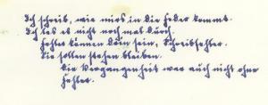 """Abbildung 10: """"Ich schreib, wie mirs in die Feder kommt. ... Die Vergangenheit war auch nicht ohne Fehler."""" Motto aus Band 1 des zehnbändigen Erinnerungswerks eines Leutnants der Reserve, verfasst 1964 (N94.4)"""