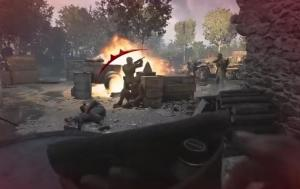 Abb. 11: Hochauflösende Kriegshandlungen aus nächster Nähe (CoD: WW2). (Bildausschnitt Min. 5.33, Spieletest Gamestar: https://www.youtube.com/watch?v=xRY0qMBX_wo, (Zugriff: 04.04.2018)) (Bild: Piasecki)