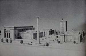 Gerdy Troost (Hg.), Das Bauen im Neuen Reich, Bd. 1&2, Bayreuth 1938/43, S. 74 (Bd. 1): Verwaltungskomplex des Oberkommandos des Heeres mit der Soldatenhalle in Rückansicht.