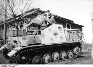 Das Bild zeigt einen Panzerjäger Marder II an der Ostfront, 1943