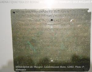Militärdiplom des Mucapor, Landesmuseum Mainz, GDKE, Foto: P.Altmeppen