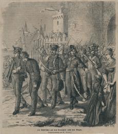 Das Bild zeigt die Mannschaften Schills auf dem Weg ins Französische Zuchthaus
