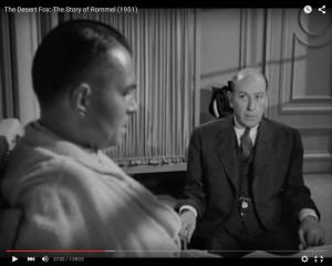"Abb. 4: Rommel (Mason, links) berichtet Dr. Strölin (Sir Cedric Hardwicke, rechts), wie ihn Hitler nach der Niederlage in Afrika als Feigling beschimpfte (""The Desert Fox: The Story of Rommel"" 1951/20th Century Fox, Screenshot, auf Youtube https://www.youtube.com/watch?v=T4n48bVGom8)"