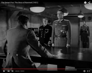 "Abb. 7: Rommel (Mason, Mitte) bei Hitler (Luther Adler) im Juni 1944 (""The Desert Fox: The Story of Rommel"" 1951/20th Century Fox, Screenshot, auf Youtube https://www.youtube.com/watch?v=T4n48bVGom8)"