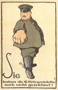 Abb. 1: Plakat zur sechsten deutschen Kriegsanleihe von 1917, Entwurf von FB, Bibliothek für Zeitgeschichte 2.5/75
