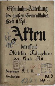 Akte des Großen Generalstabes, Eisenbahnabteilung von 1911 (http://www.germandocsinrussia.org)