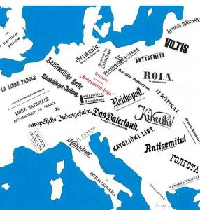 Embleme antisemitischer Zeitungen in Europa im 19. und frühen 20. Jahrhundert