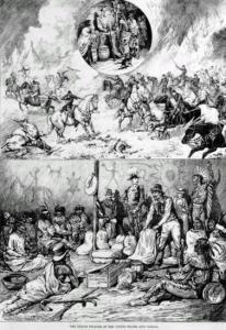 """Kanadischer Stich (Henri Julien, 1876) zu den Unterschieden der amerikanisch-kanadischen """"Indianerpolitik"""", welcher die Bedeutung von Feuerwaffen verdeutlicht"""