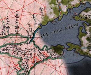 erstellt von Christoph Salge, basierend auf einem Screenshot aus Crusader Kings 2 und der Aufnahme einer historischen Karte. https://commons.wikimedia.org/wiki/File:Portolan_vesconte_1318_sea_of_Azov.jpg