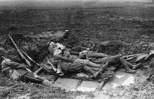 Germany troops at rest in a water-filled shell hole on the Western Front. © IWM (Q 88100), http://www.iwm.org.uk/collections/item/object/205331658