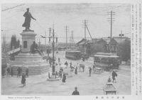 """Hirose's Statue at Manseibashi shortly after unveiling ceremony 1911."". Source: Tōkyō fūkei [Tōkyō Sceneries]. Ogawa Isshin shuppan-bu, 1911. p. 50.Acquired via the Kokuritsu kokkai toshokan dejitaru korekushon. Copyright on the work has expired."