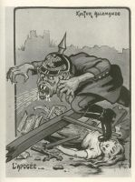 """Abb. 11: Französische Darstellung des deutschen """"Barbaren"""". Karikatur von Guillaume Morinet von 1915"""