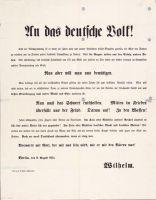 Abb. 2: Das erste Kriegs-Plakat vom 6. August 1914, Bibliothek für Zeitgeschichte, 2.0/25