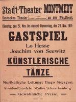 Abb. 5: Plakat zu einer Veranstaltung für deutsche Soldaten in der Etappe, Bibliothek für Zeitgeschichte, 2.22/21