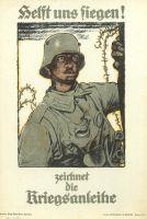 """Abb. 6: Die Ikone der Kriegsanleihe-Werbung: """"Helft uns siegen!"""" von Fritz Erler, 1917, Bibliothek für Zeitgeschichte, 2.5/5"""