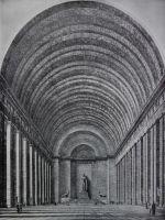 Gerdy Troost (Hg.), Das Bauen im Neuen Reich, Bd. 1&2, Bayreuth 193, 8/43, S. 9 (Bd. 2): Zeichnung der Haupthalle mit Blick auf den 'Sieger' von Arno Breker.
