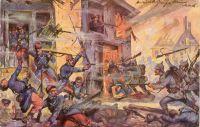 """""""Straßenkampf zwischen Deutschen und Franzosen"""" Postkarte nach einem Gemälde von G. W. Kisslich Verlag Hermann Wolff Berlin, gelaufen 1915, Quelle: BfZ/WLB"""