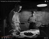 """Abb. 3: Rommel (Mason, links) ist vom Rückzug überzeugt, um seine Männer zu schonen (""""The Desert Fox: The Story of Rommel"""" 1951/20th Century Fox, Screenshot, auf Youtube https://www.youtube.com/watch?v=T4n48bVGom8)"""