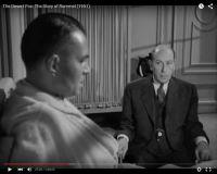 """Abb. 4: Rommel (Mason, links) berichtet Dr. Strölin (Sir Cedric Hardwicke, rechts), wie ihn Hitler nach der Niederlage in Afrika als Feigling beschimpfte (""""The Desert Fox: The Story of Rommel"""" 1951/20th Century Fox, Screenshot, auf Youtube https://www.youtube.com/watch?v=T4n48bVGom8)"""