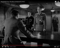 """Abb. 7: Rommel (Mason, Mitte) bei Hitler (Luther Adler) im Juni 1944 (""""The Desert Fox: The Story of Rommel"""" 1951/20th Century Fox, Screenshot, auf Youtube https://www.youtube.com/watch?v=T4n48bVGom8)"""