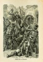 Das Bild zeigt einen Stich der Kämpfe in Stralsund
