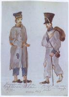 Meißner Bilderhandschrift mit einer Darstellung französischer Versprengter in abgerissenen Uniformen, Blatt II.19a, 21. August 1813 (Hemmann, S. 162)