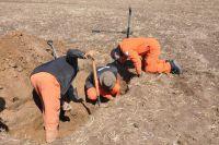 Mitglieder des VBGO legen Überreste von zwei Rotarmisten frei (Quelle: K.Straub)