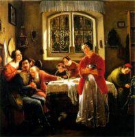 Heimkehr des Freiwilligen aus den Befreiungskriegen zu den nach alter Sitte lebenden Seinen (Moritz Daniel Oppenheim, 1833/34)