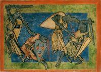 Kampfillustration in einem 'Jungfrauenspiegel' (Speculum Virginum), um 1200, Quelle: wikimediacommons (gemeinfrei)