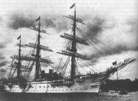 Das Bild zeigt die deutsche Kreuzerfregatte SMS Charlotte (Stapellauf 1885) (Quelle: Wikipedia).