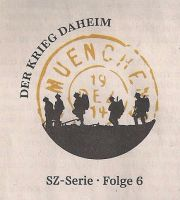 """Logo der Serie """"Der Krieg daheim"""" (Süddeutsche Zeitung vom 9./10.08.2014)"""