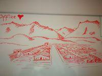 """Whiteboardskizze der Sicht aus einem Büro in """"Camp Marmal"""", Masar-e-Scharif 2020. Ersteller (Hauptmann,17. Ktgt RS) dem Autor bekannt."""